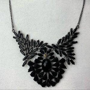 Jet Black swan stone statement necklace